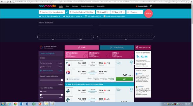 Captura pantalla precio España