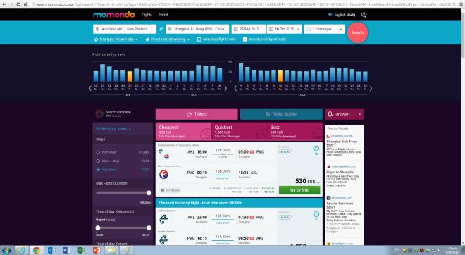 Captura pantalla precio Nueva Zelanda